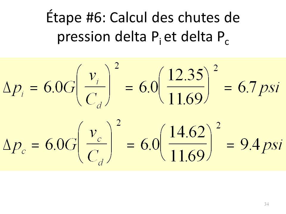 Étape #6: Calcul des chutes de pression delta Pi et delta Pc