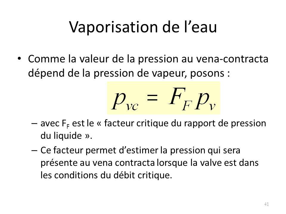 Vaporisation de l'eau Comme la valeur de la pression au vena-contracta dépend de la pression de vapeur, posons :