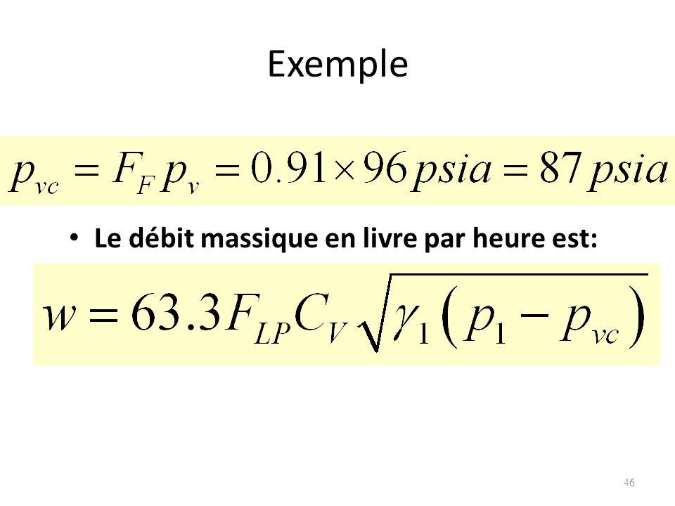 Exemple Le débit massique en livre par heure est: