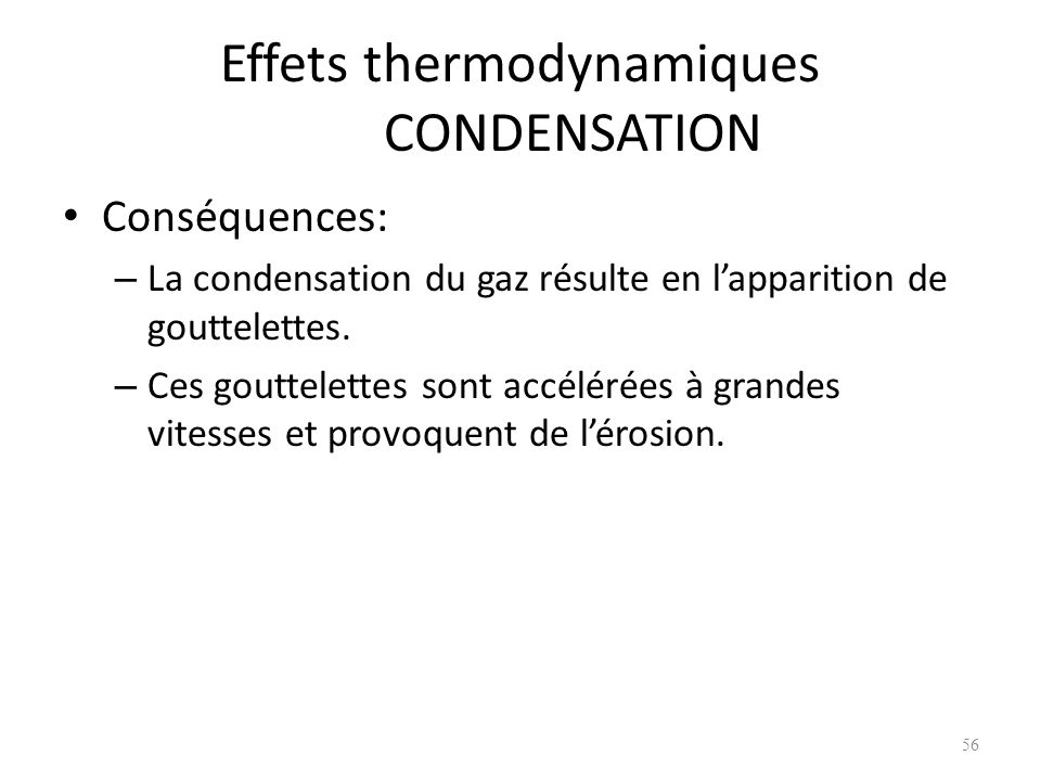Effets thermodynamiques CONDENSATION