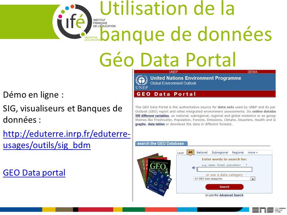 Utilisation de la banque de données Géo Data Portal