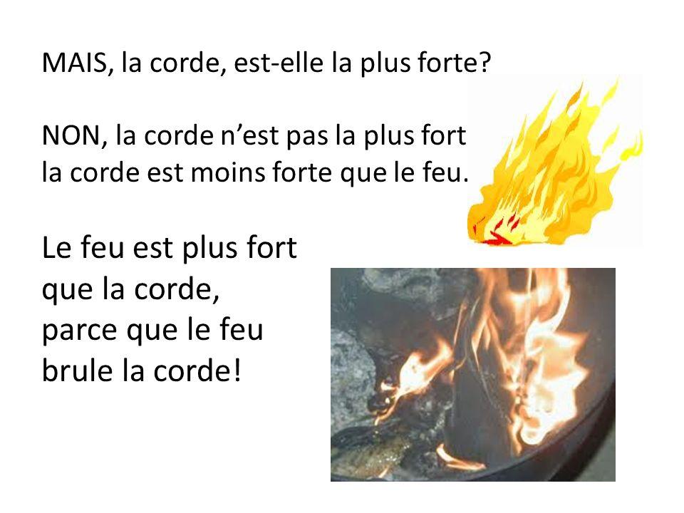 Le feu est plus fort que la corde, parce que le feu brule la corde!