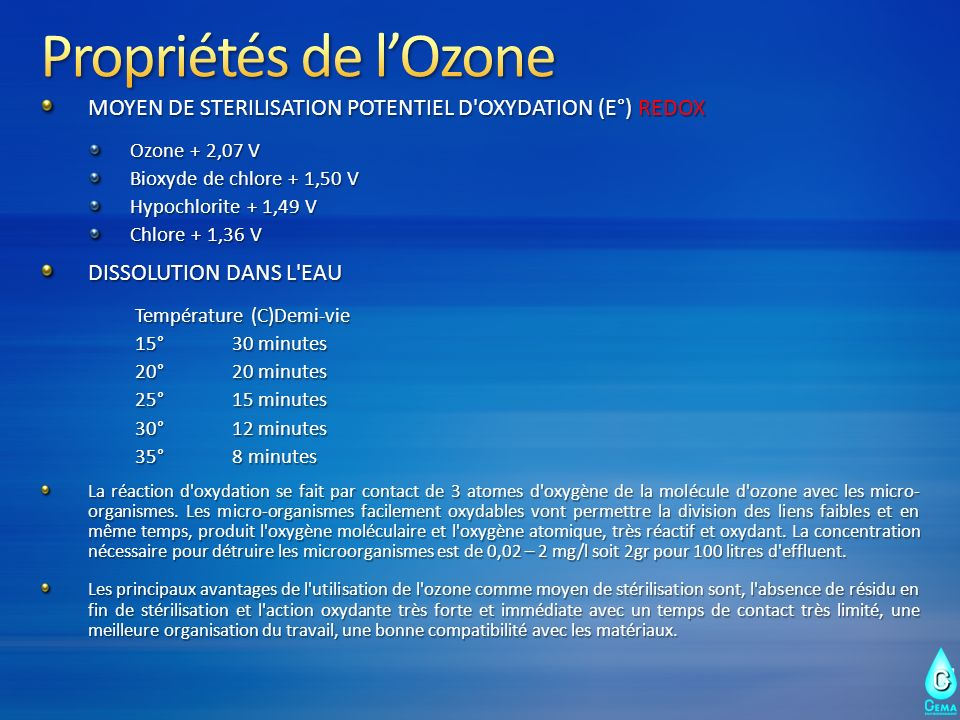 Propriétés de l'Ozone MOYEN DE STERILISATION POTENTIEL D OXYDATION (E°) REDOX. Ozone + 2,07 V. Bioxyde de chlore + 1,50 V.