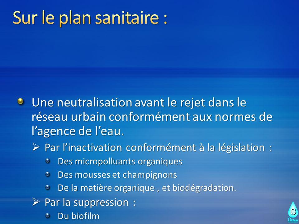 Sur le plan sanitaire : Une neutralisation avant le rejet dans le réseau urbain conformément aux normes de l'agence de l'eau.