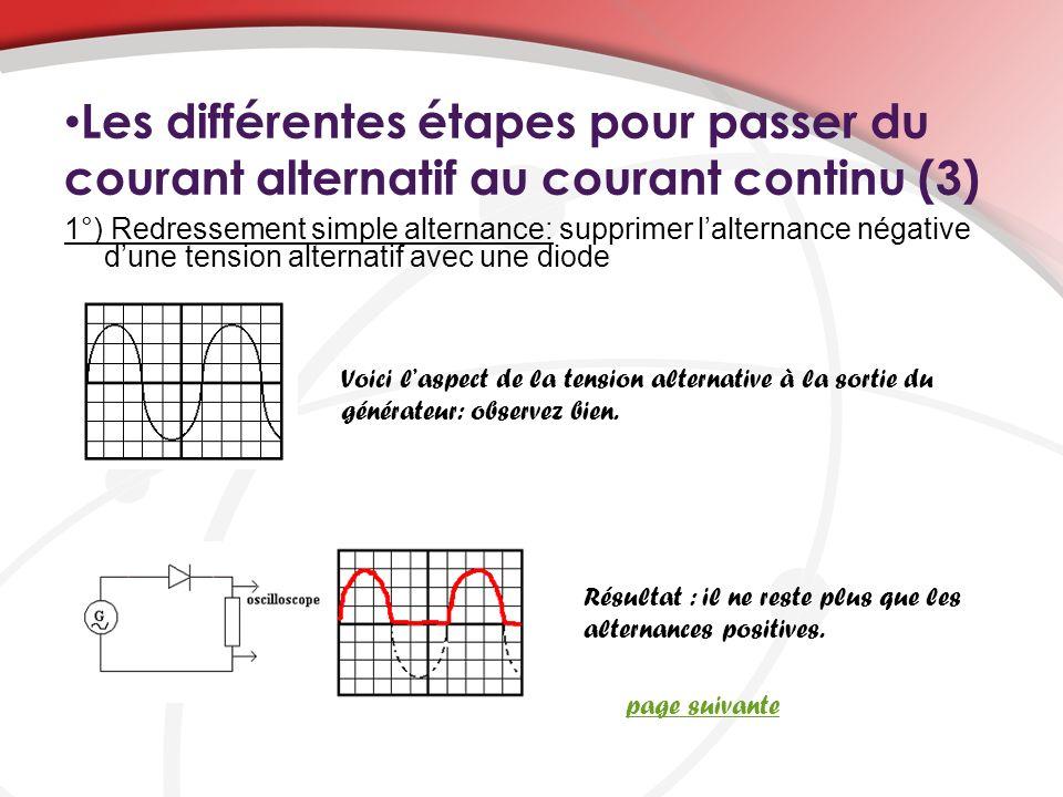 Les différentes étapes pour passer du courant alternatif au courant continu (3)