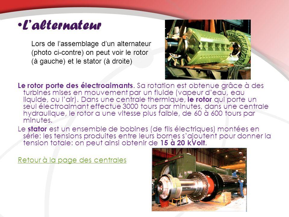 L'alternateur Lors de l'assemblage d'un alternateur (photo ci-contre) on peut voir le rotor (à gauche) et le stator (à droite)