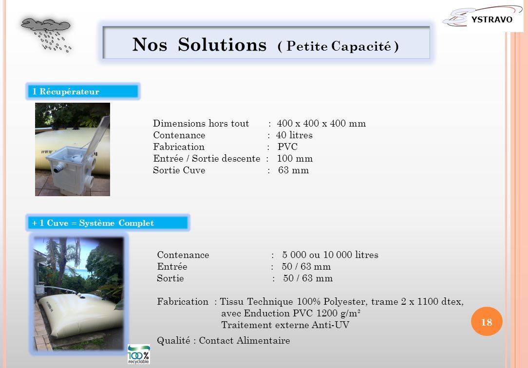 Nos Solutions ( Petite Capacité )