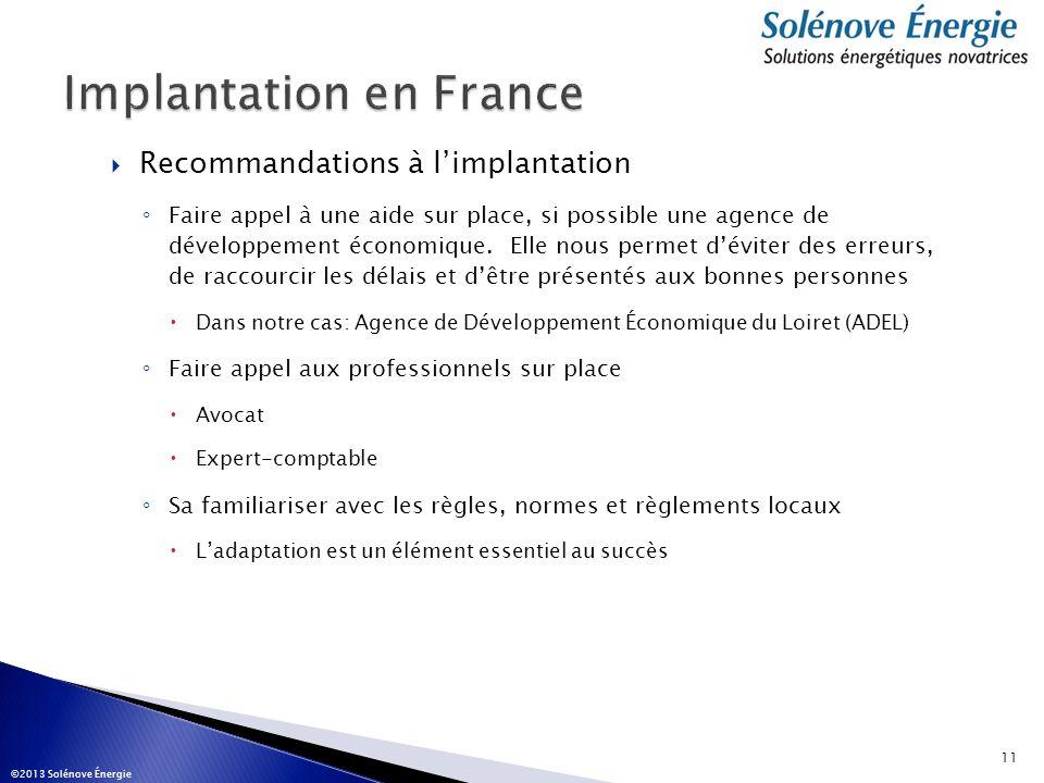 Implantation en France