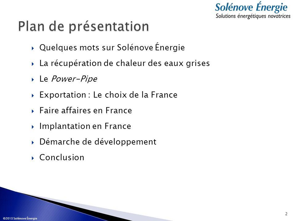 Plan de présentation Quelques mots sur Solénove Énergie