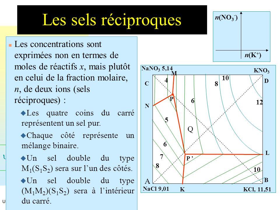 Les sels réciproques n(K+) n(NO3-)