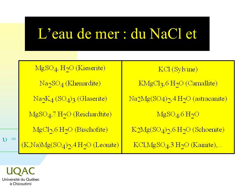 L'eau de mer : du NaCl et
