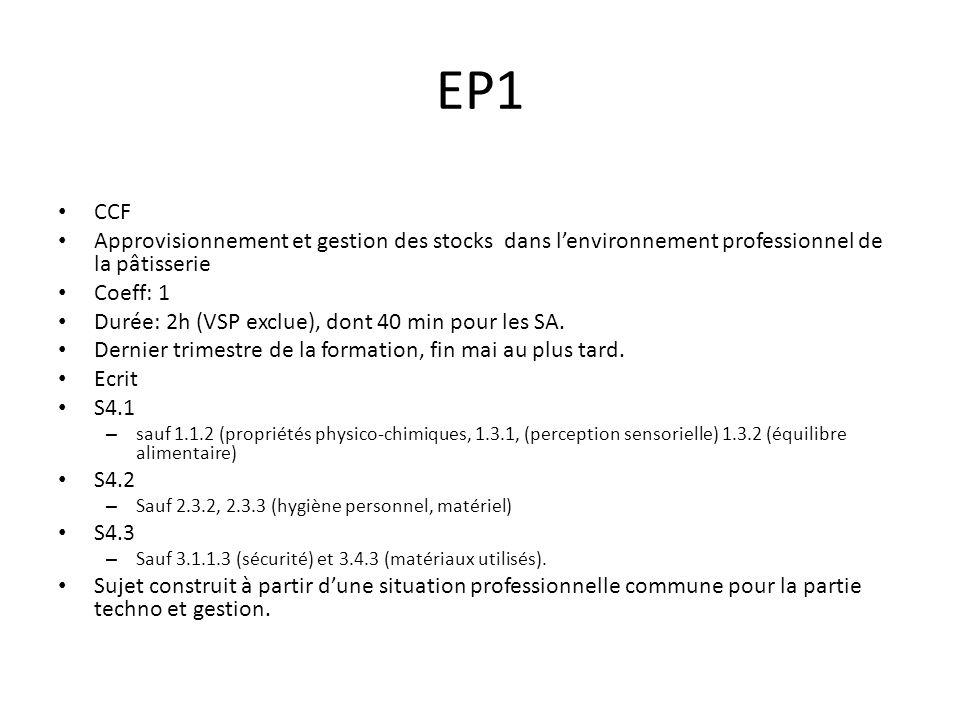 EP1 CCF. Approvisionnement et gestion des stocks dans l'environnement professionnel de la pâtisserie.