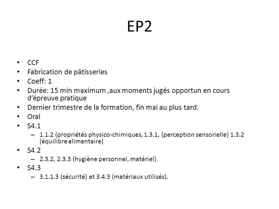 EP2 CCF Fabrication de pâtisseries Coeff: 1