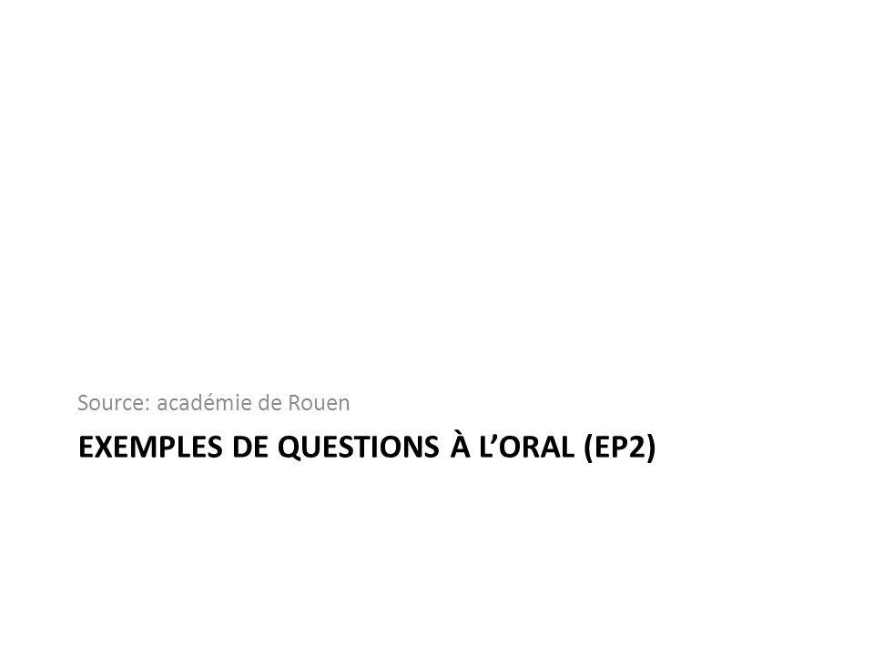 Exemples de questions à l'oral (EP2)