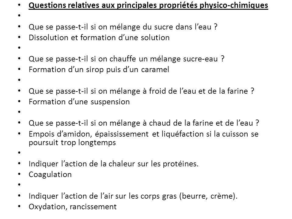 Questions relatives aux principales propriétés physico-chimiques