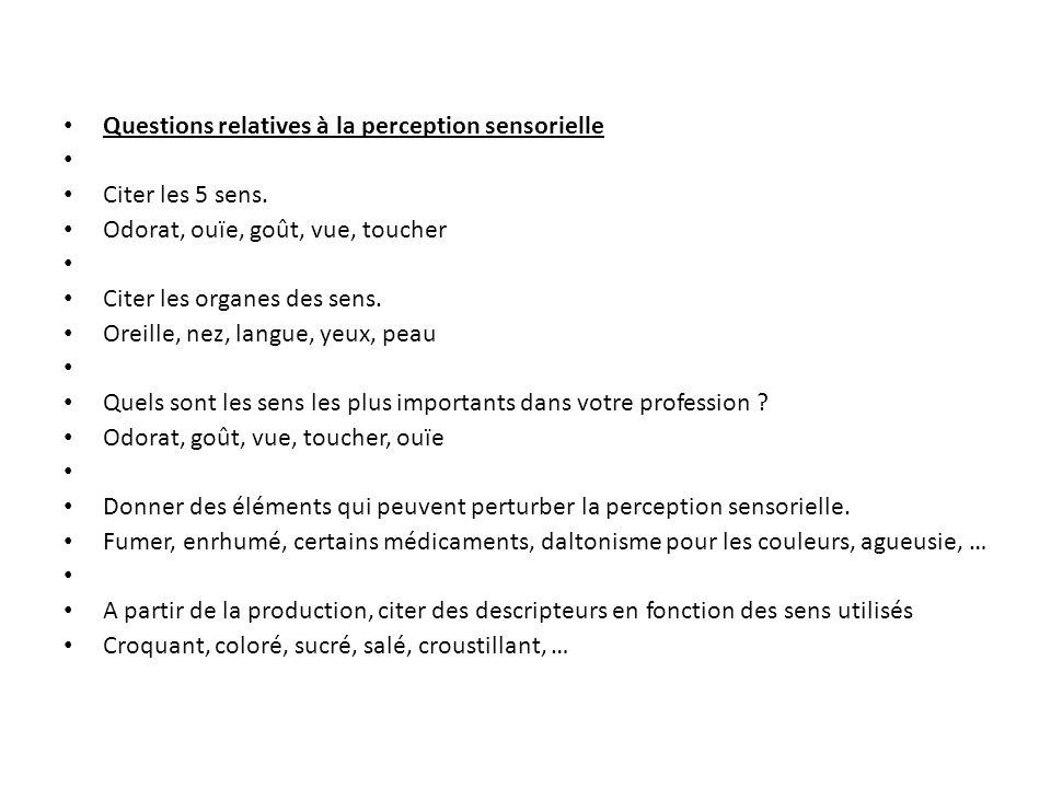 Questions relatives à la perception sensorielle