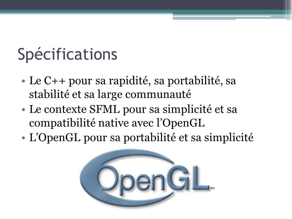 Spécifications Le C++ pour sa rapidité, sa portabilité, sa stabilité et sa large communauté.
