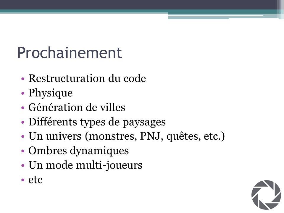 Prochainement Restructuration du code Physique Génération de villes