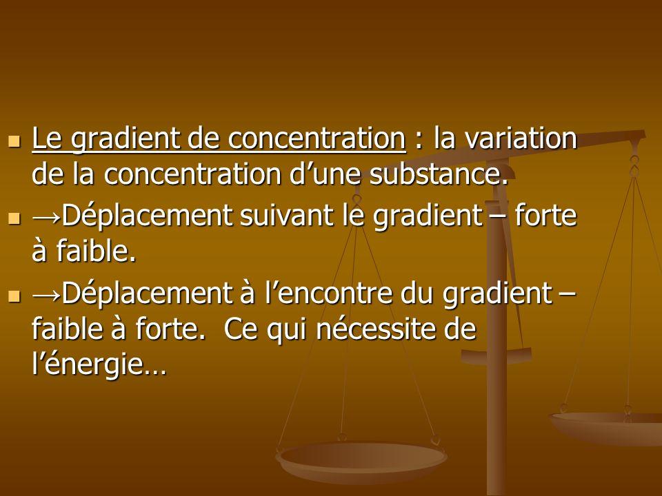 Le gradient de concentration : la variation de la concentration d'une substance.