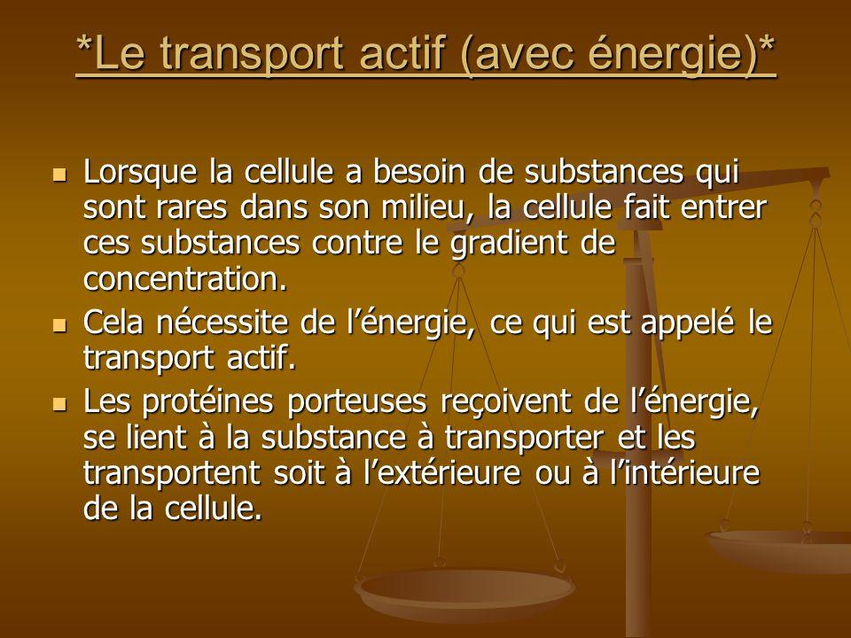 *Le transport actif (avec énergie)*