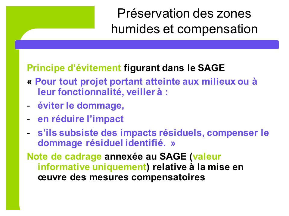 Préservation des zones humides et compensation