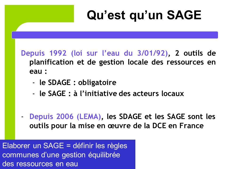 Qu'est qu'un SAGE Depuis 1992 (loi sur l'eau du 3/01/92), 2 outils de planification et de gestion locale des ressources en eau :