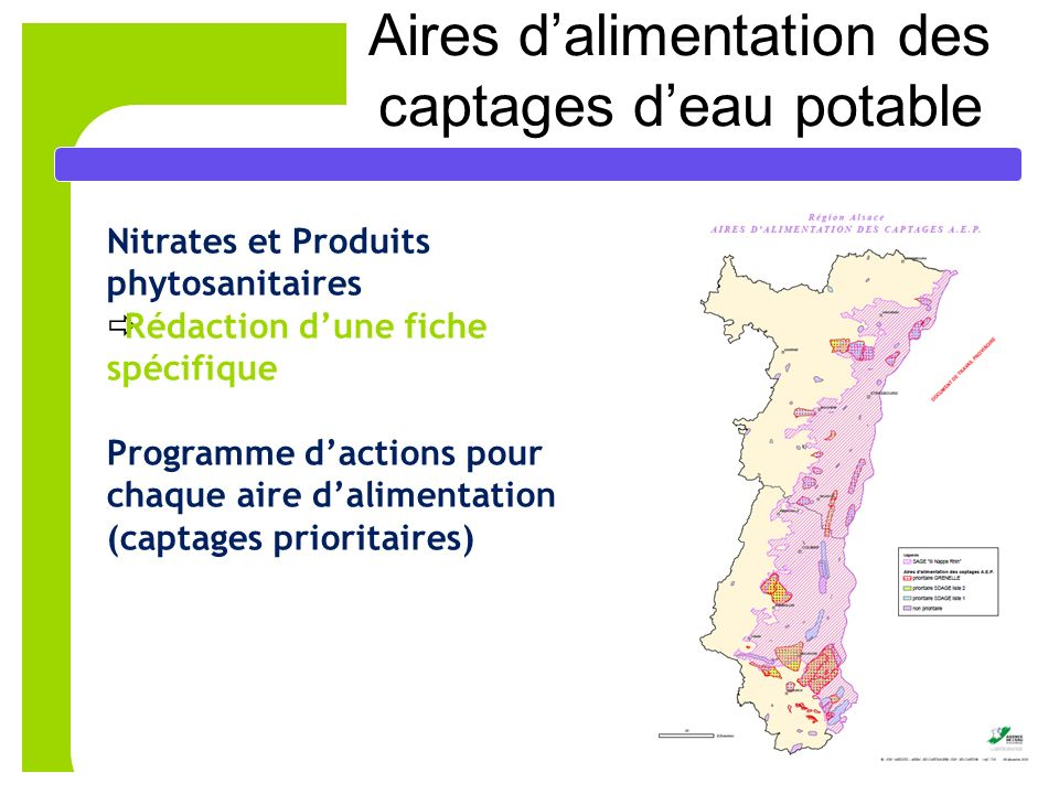 Aires d'alimentation des captages d'eau potable