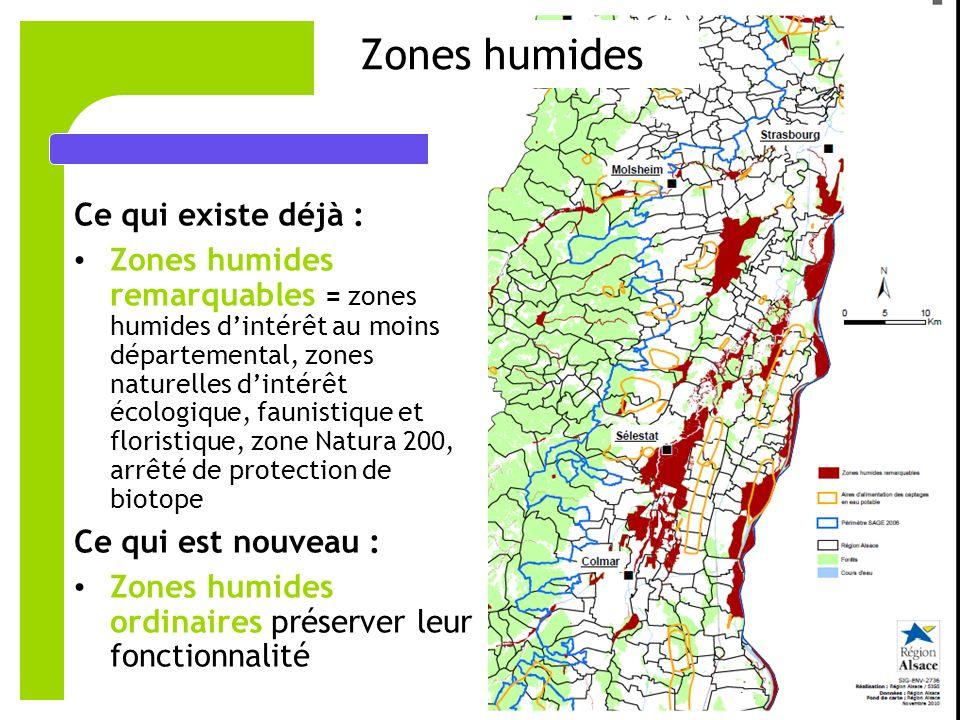 Zones humides Ce qui existe déjà :