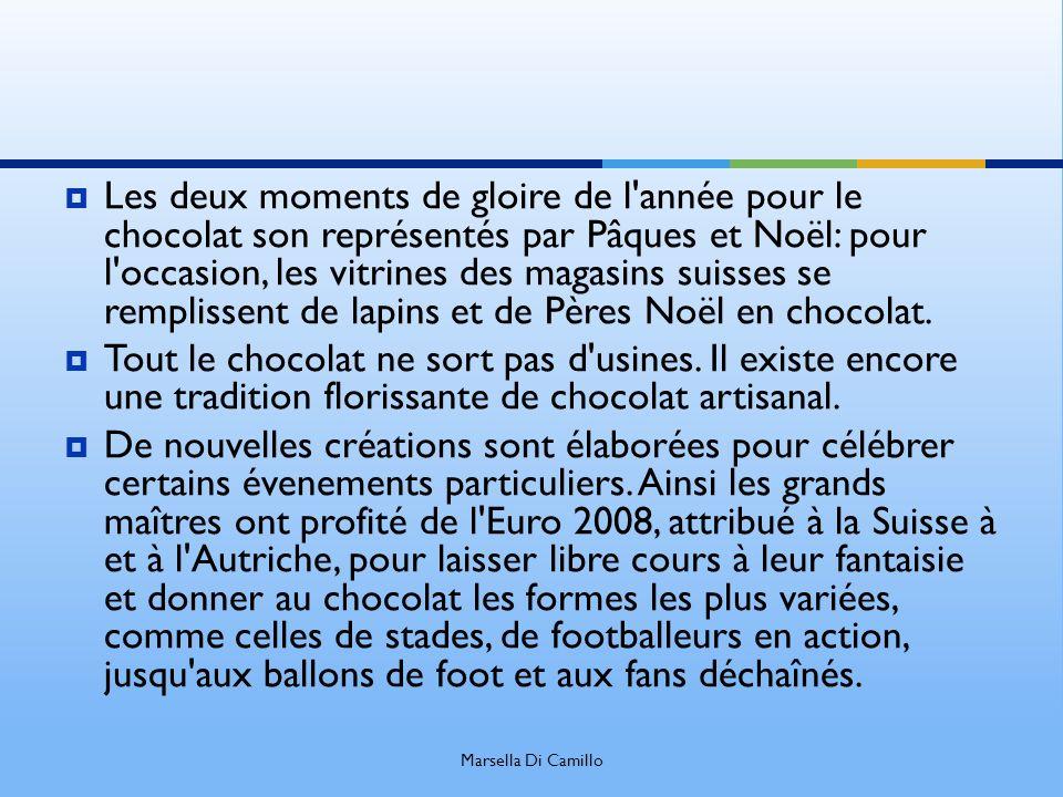 Les deux moments de gloire de l année pour le chocolat son représentés par Pâques et Noël: pour l occasion, les vitrines des magasins suisses se remplissent de lapins et de Pères Noël en chocolat.
