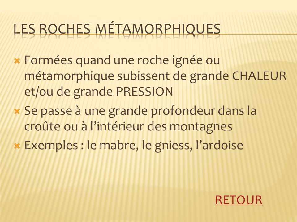 Les roches mÉtamorphiques