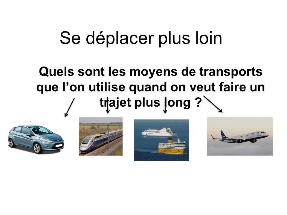 Se déplacer plus loin Quels sont les moyens de transports que l'on utilise quand on veut faire un trajet plus long