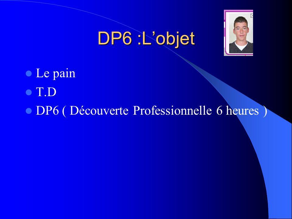 DP6 :L'objet Le pain T.D DP6 ( Découverte Professionnelle 6 heures )