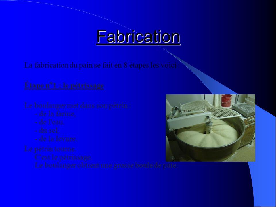 Fabrication La fabrication du pain se fait en 8 étapes les voici :