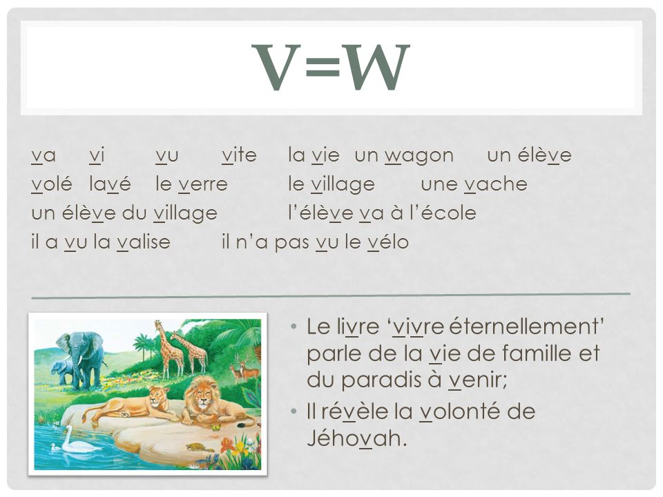 V=w va vi vu vite la vie un wagon un élève. volé lavé le verre le village une vache. un élève du village l'élève va à l'école.