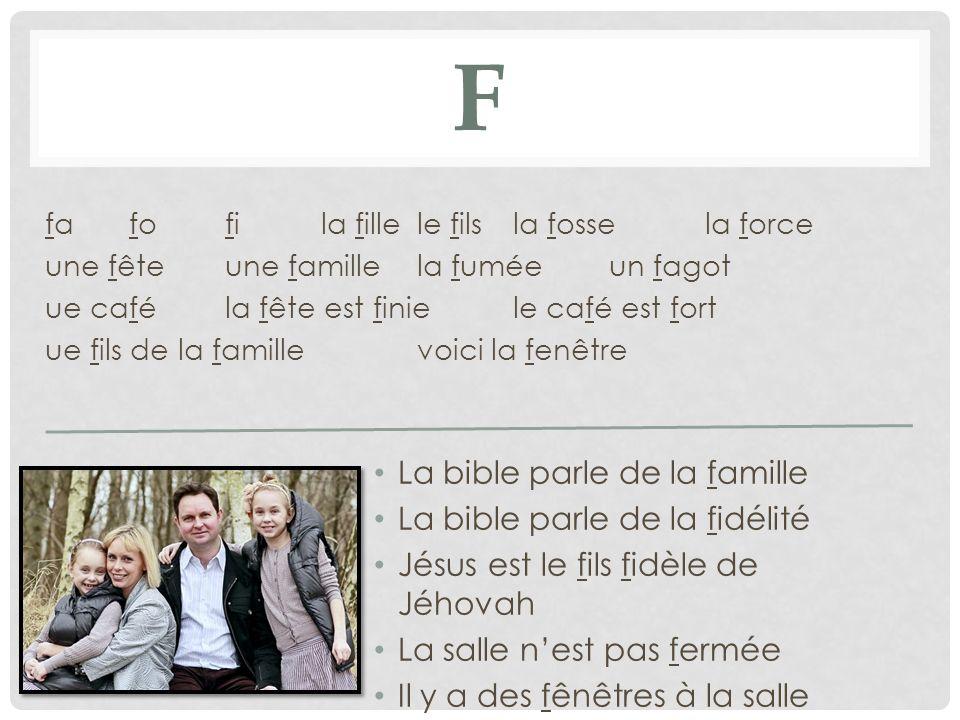 F La bible parle de la famille La bible parle de la fidélité