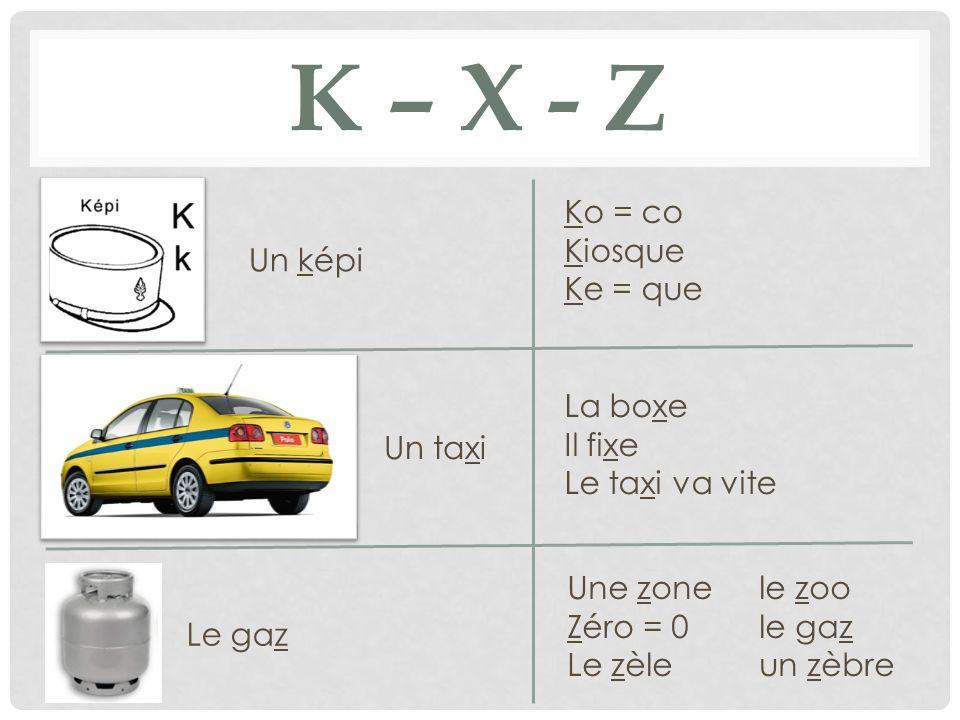K – x - z Ko = co Kiosque Ke = que Un képi La boxe Il fixe