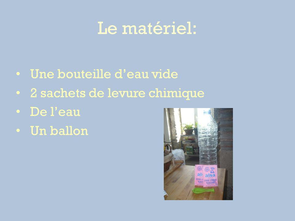 Le matériel: Une bouteille d'eau vide 2 sachets de levure chimique