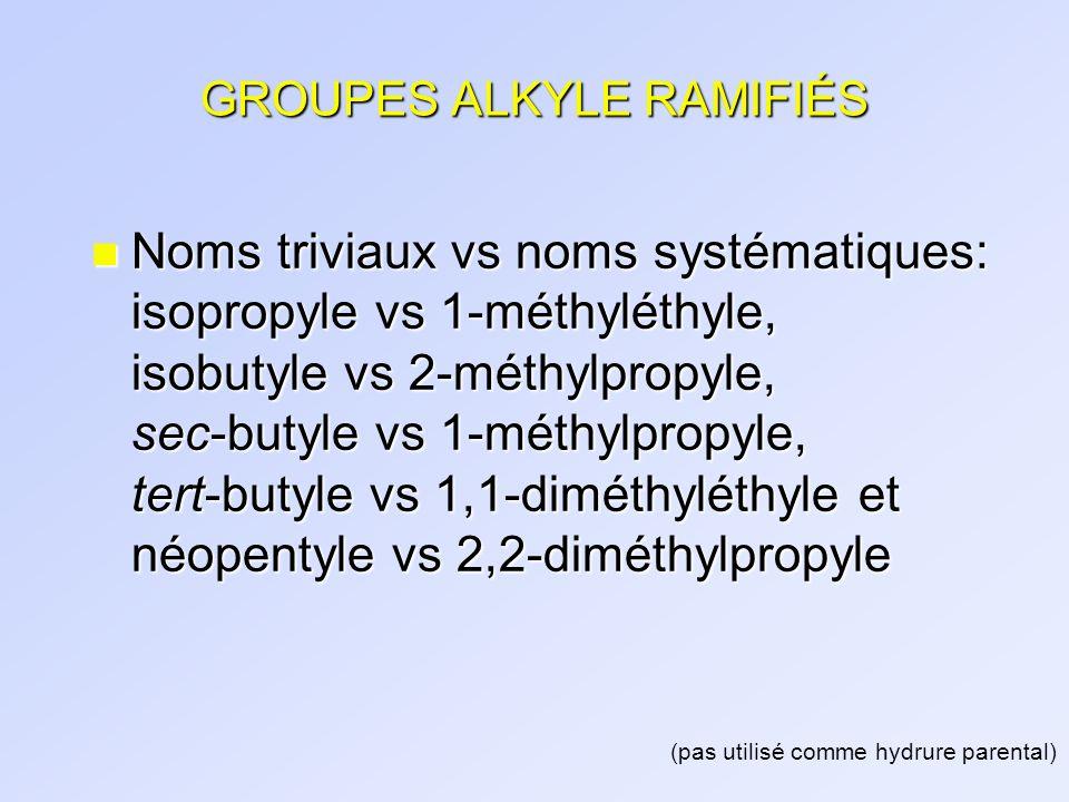 GROUPES ALKYLE RAMIFIÉS