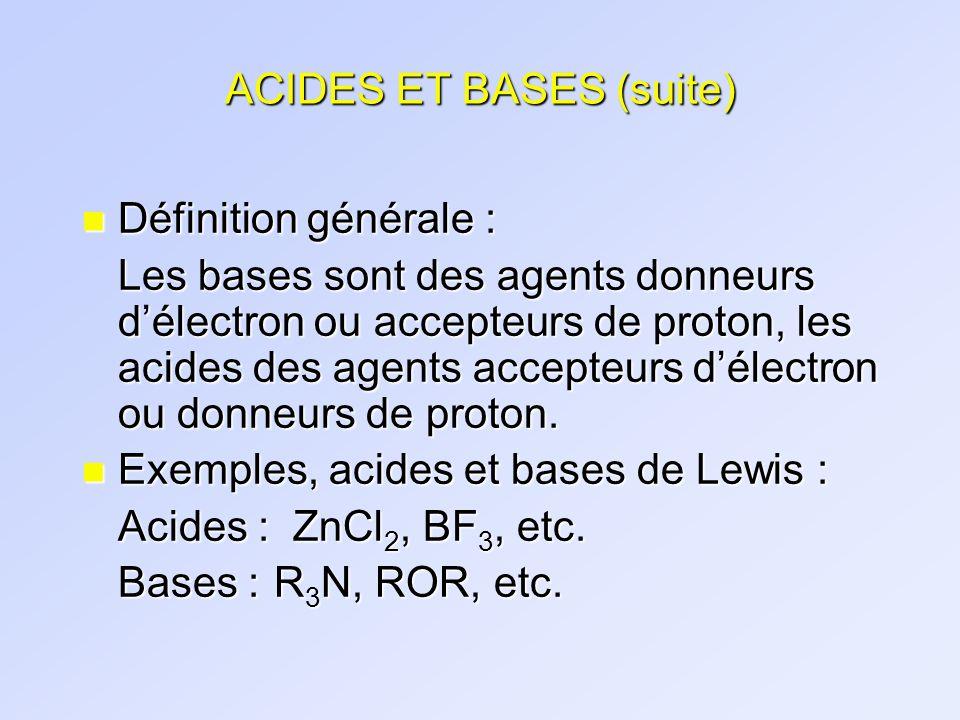 ACIDES ET BASES (suite)