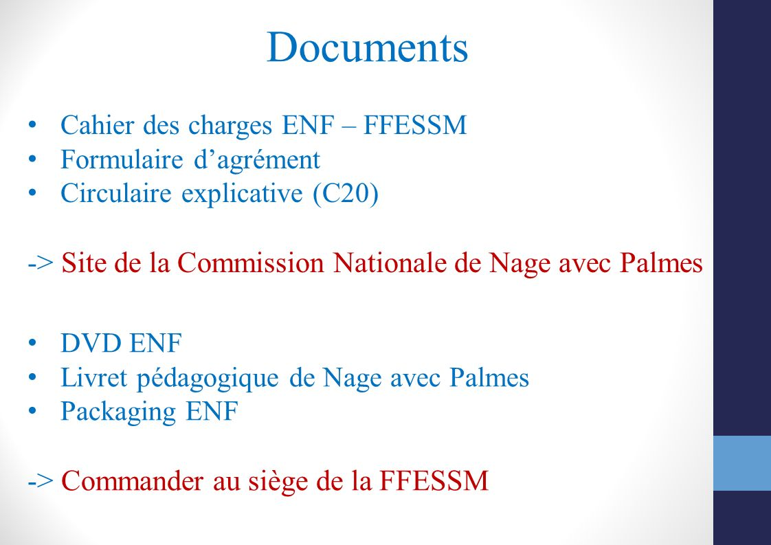 Documents -> Site de la Commission Nationale de Nage avec Palmes