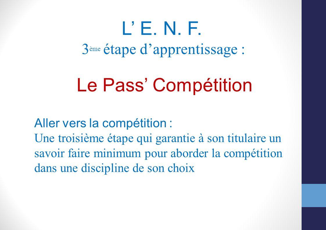 L' E. N. F. Le Pass' Compétition 3ème étape d'apprentissage :