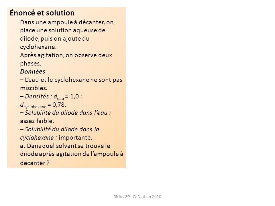 Énoncé et solution Dans une ampoule à décanter, on place une solution aqueuse de diiode, puis on ajoute du cyclohexane. Après agitation, on observe deux phases. Données – L'eau et le cyclohexane ne sont pas miscibles. – Densités : deau = 1,0 ; dcyclohexane = 0,78. – Solubilité du diiode dans l'eau : assez faible. – Solubilité du diiode dans le cyclohexane : importante. a. Dans quel solvant se trouve le diiode après agitation de l'ampoule à décanter
