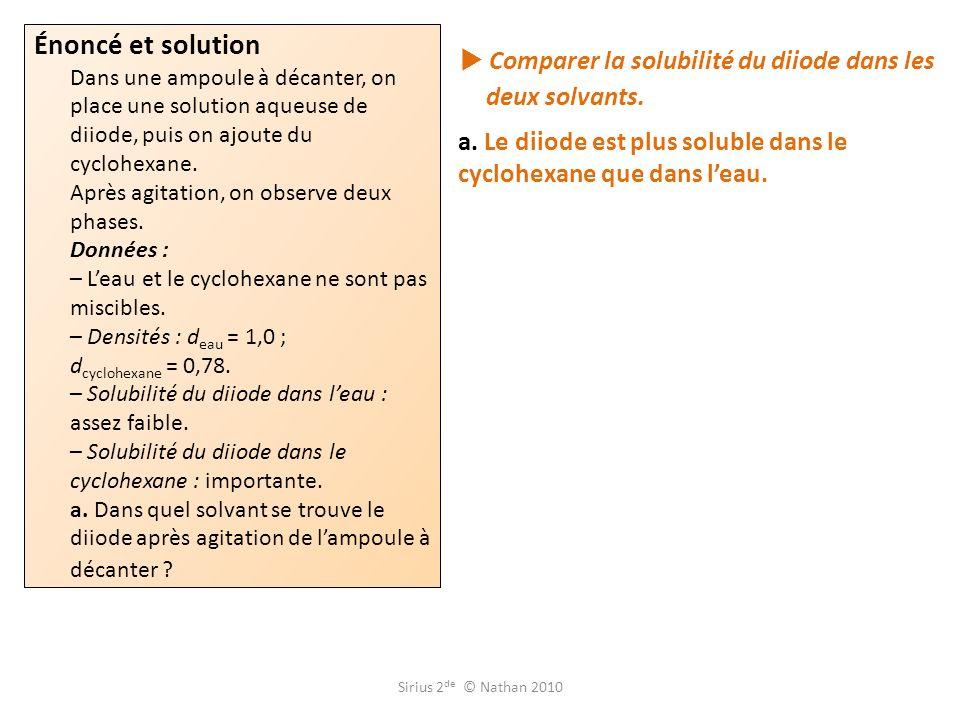  Comparer la solubilité du diiode dans les deux solvants.