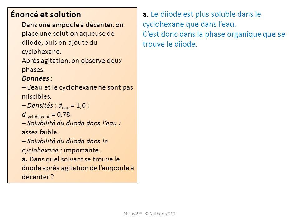 Énoncé et solution Dans une ampoule à décanter, on place une solution aqueuse de diiode, puis on ajoute du cyclohexane. Après agitation, on observe deux phases. Données : – L'eau et le cyclohexane ne sont pas miscibles. – Densités : deau = 1,0 ; dcyclohexane = 0,78. – Solubilité du diiode dans l'eau : assez faible. – Solubilité du diiode dans le cyclohexane : importante. a. Dans quel solvant se trouve le diiode après agitation de l'ampoule à décanter