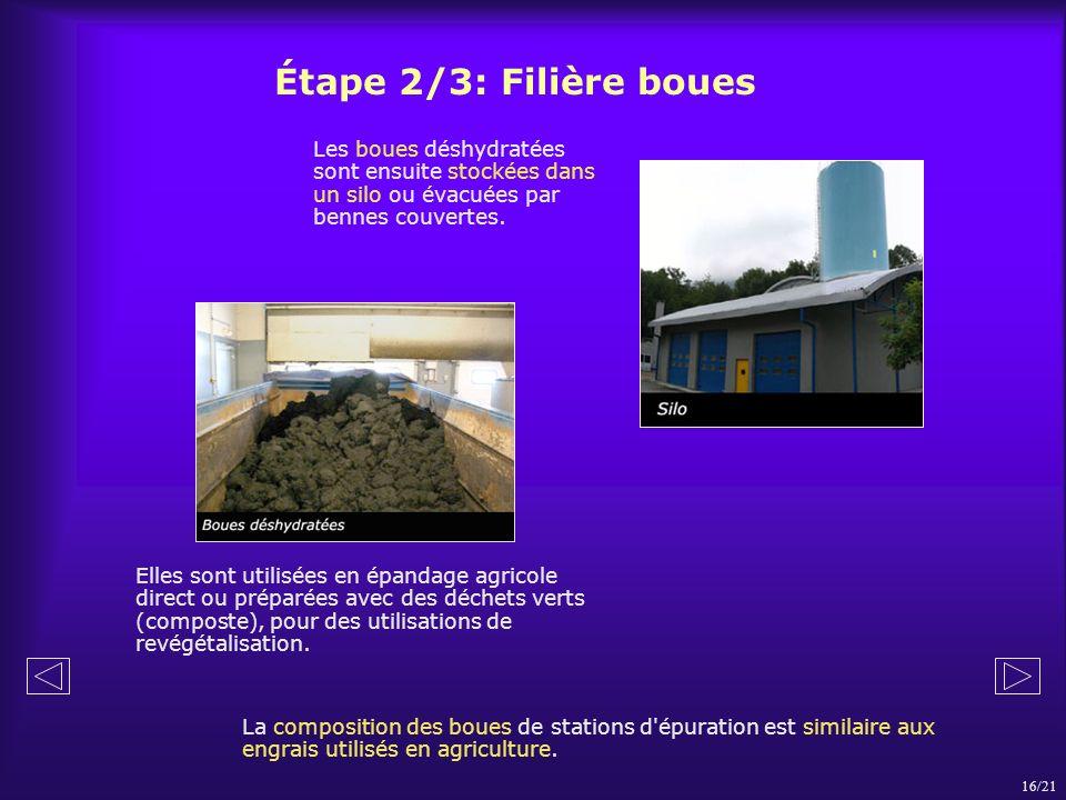 Étape 2/3: Filière boues Les boues déshydratées sont ensuite stockées dans un silo ou évacuées par bennes couvertes.