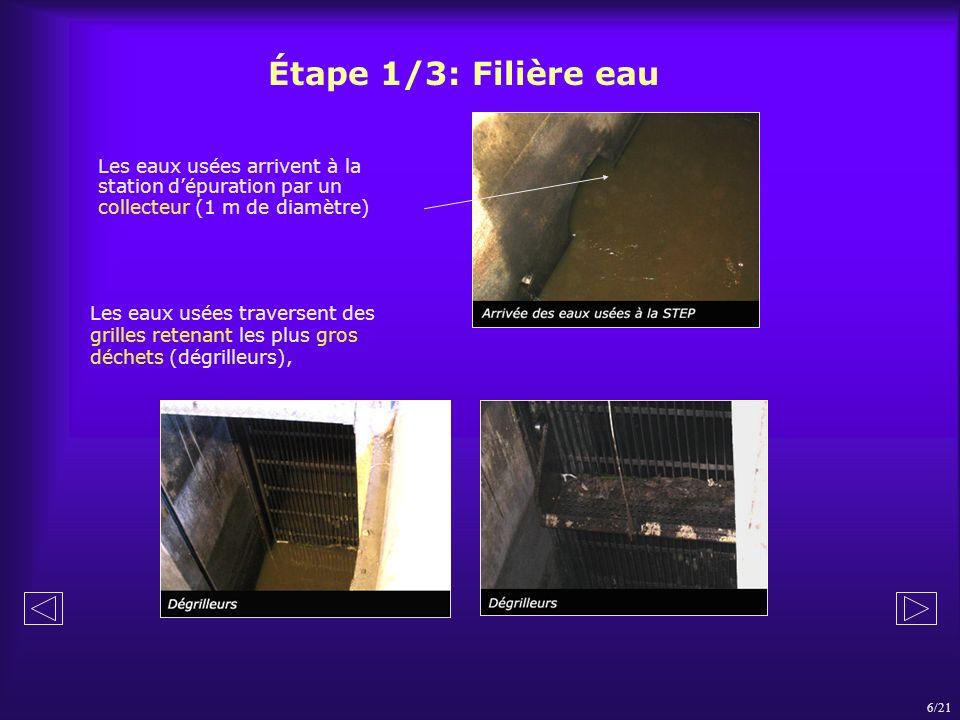 Étape 1/3: Filière eau Les eaux usées arrivent à la station d'épuration par un collecteur (1 m de diamètre)