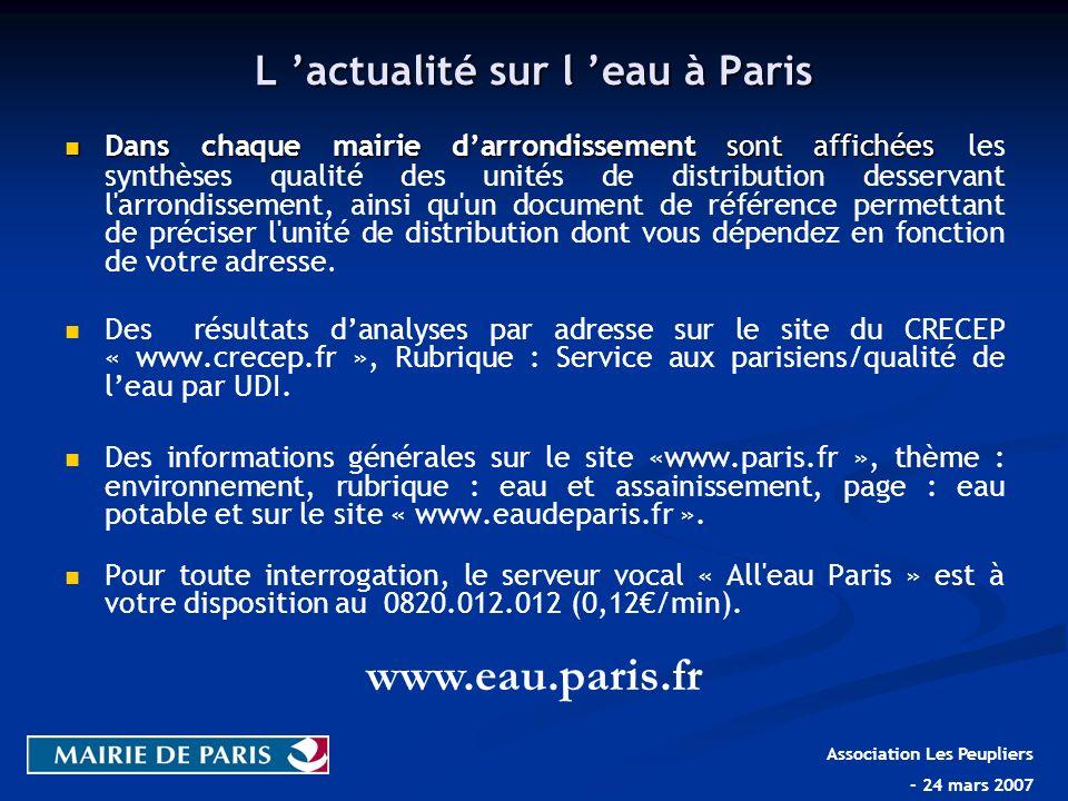 L 'actualité sur l 'eau à Paris