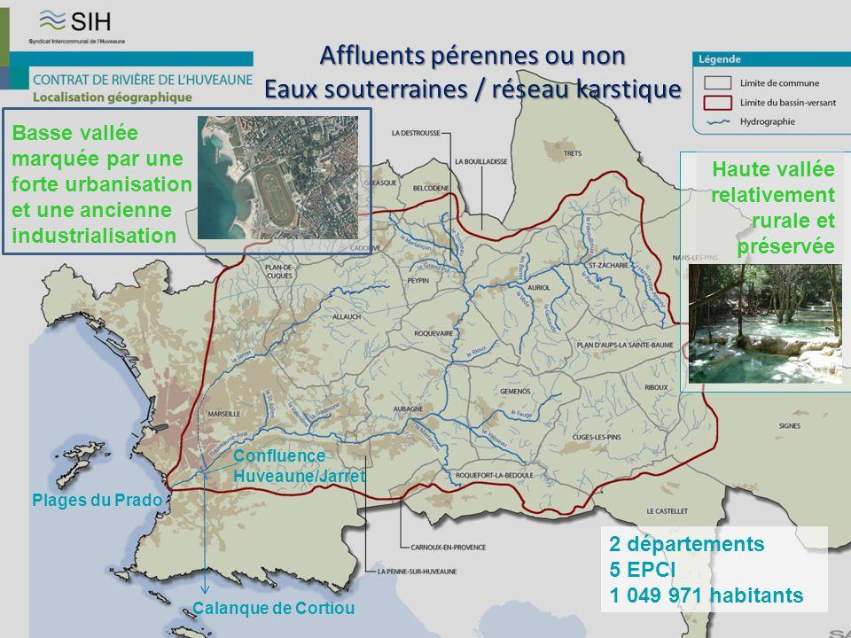 Affluents pérennes ou non Eaux souterraines / réseau karstique