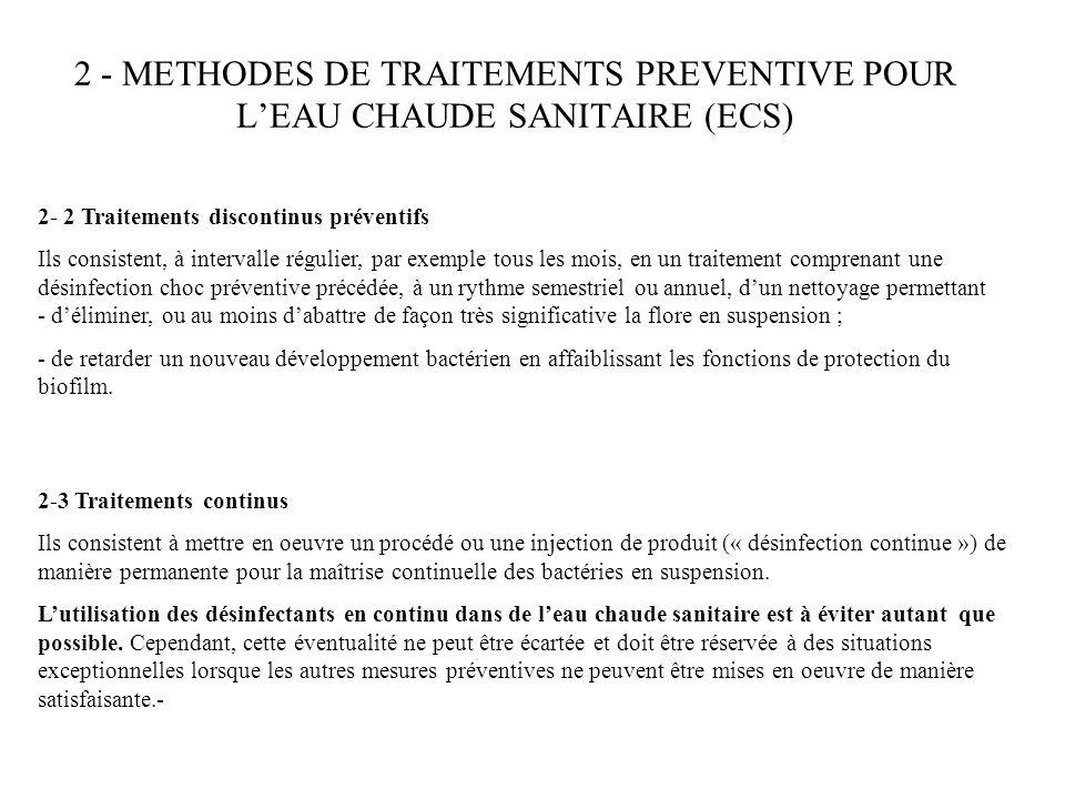 2 - METHODES DE TRAITEMENTS PREVENTIVE POUR L'EAU CHAUDE SANITAIRE (ECS)