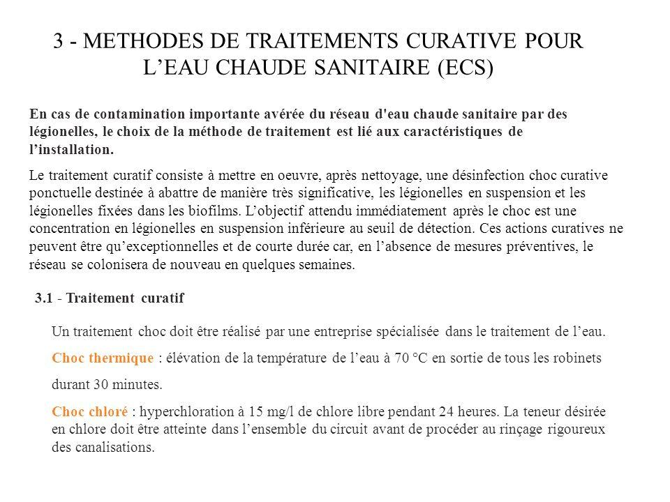 3 - METHODES DE TRAITEMENTS CURATIVE POUR L'EAU CHAUDE SANITAIRE (ECS)